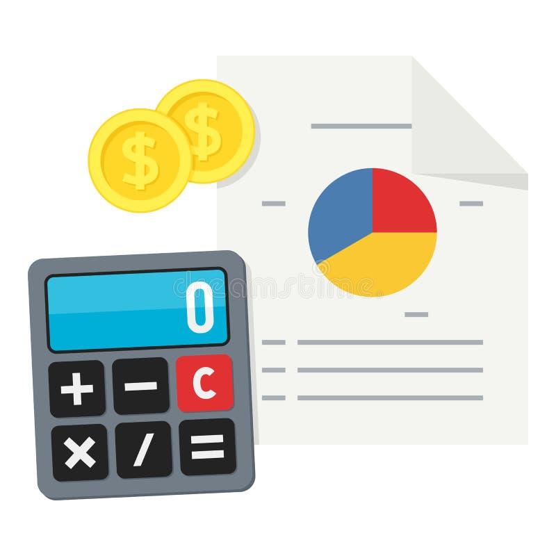 Calculadora, carta de torta e ícone liso do dinheiro ilustração royalty free