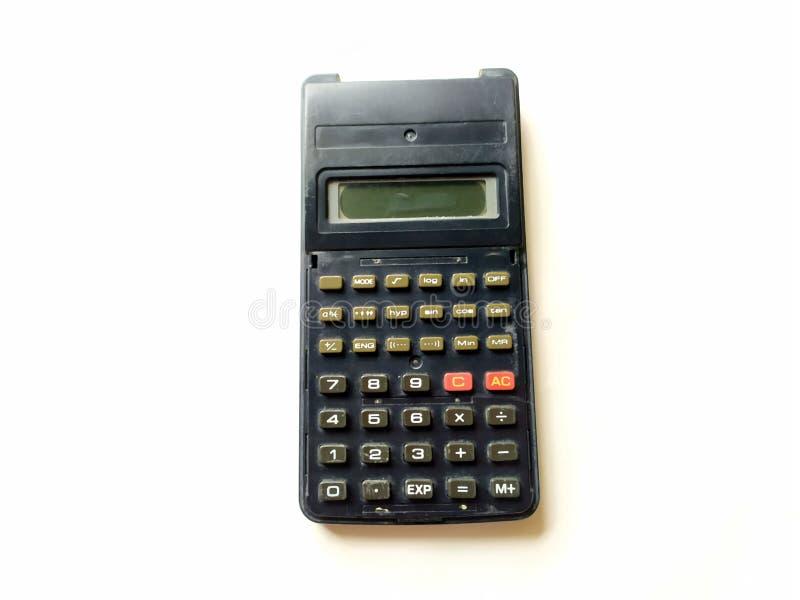 Calculadora científica negra en el fondo blanco fotos de archivo libres de regalías