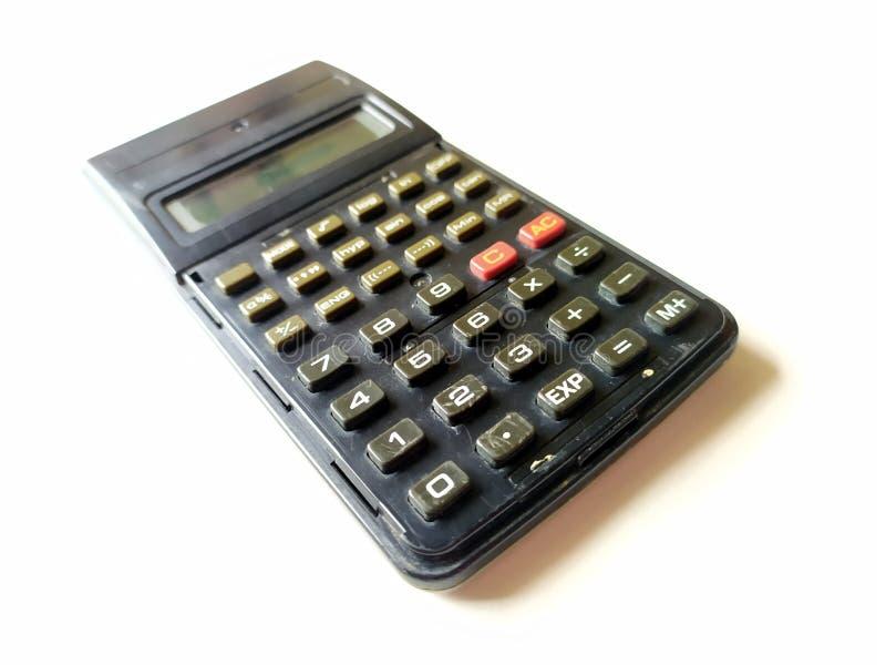 Calculadora científica negra en el fondo blanco imágenes de archivo libres de regalías