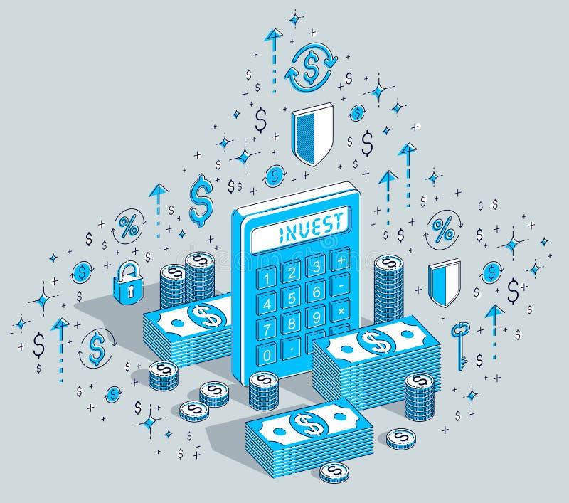 A calculadora com dinheiro do dinheiro empilha e inventa as pilhas isoladas no wh ilustração royalty free