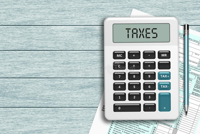 A calculadora com impostos text e o formulário de imposto 1040 que encontra-se no de madeira ilustração royalty free