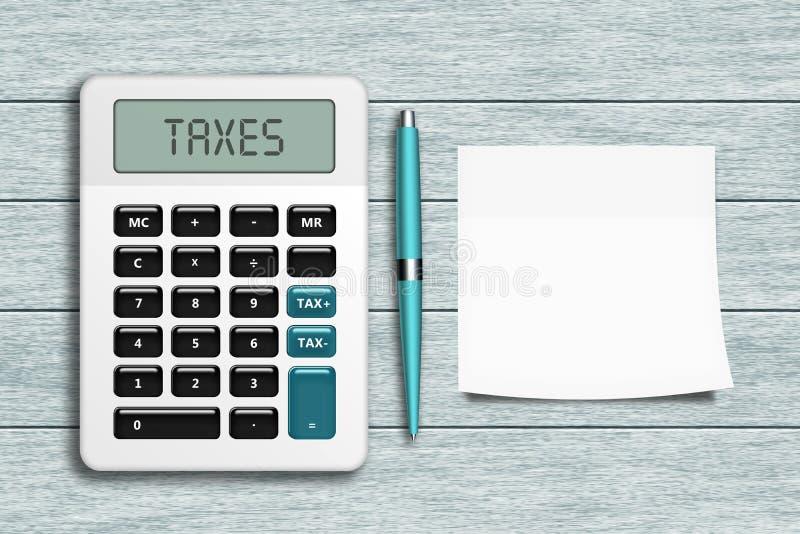 A calculadora com impostos text, encerra, e esvazia a nota que encontra-se em de madeira ilustração do vetor