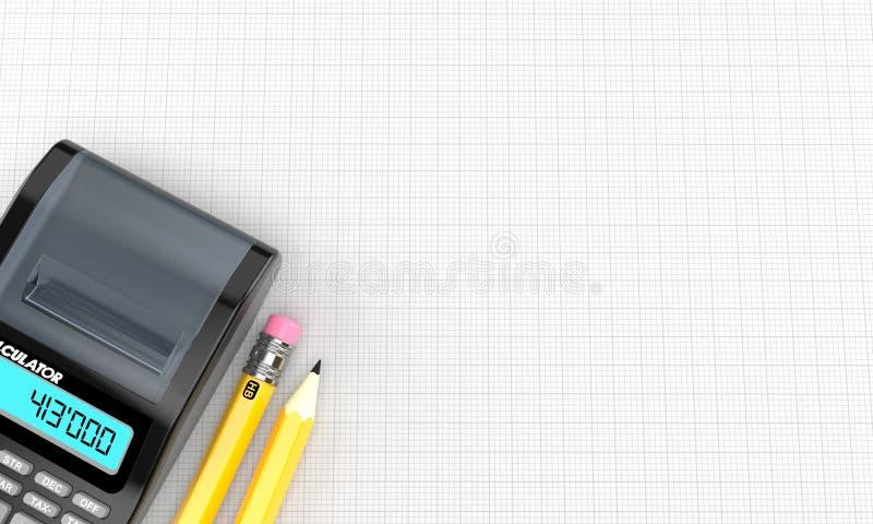 Calculadora com lápis ilustração royalty free