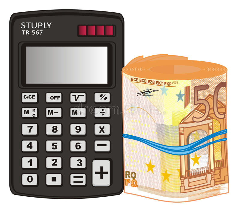 Calculadora com o tubo do dinheiro ilustração do vetor