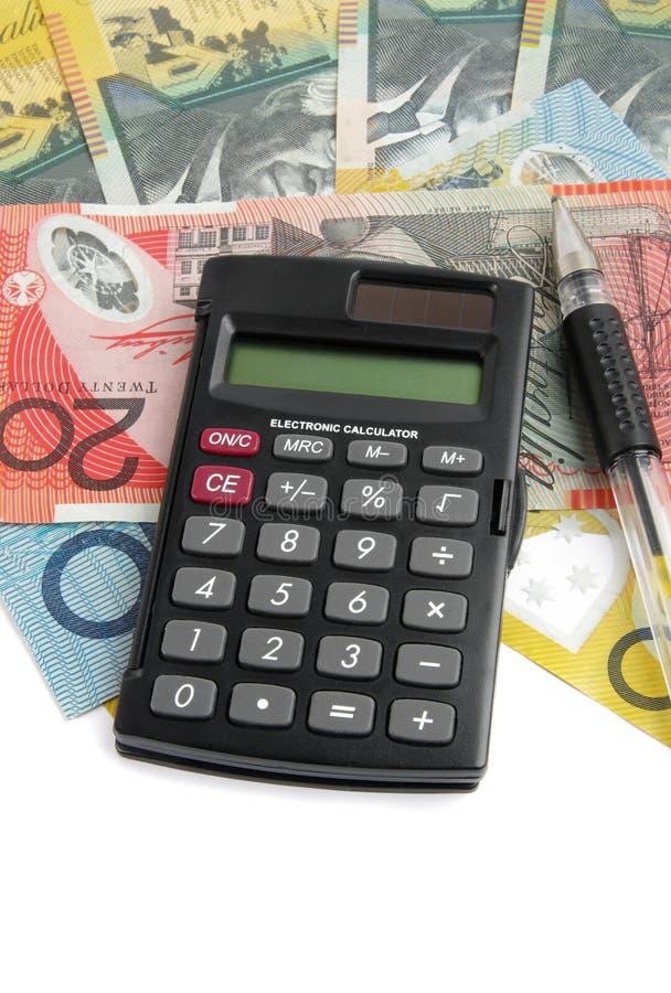 Calculadora con el dinero imágenes de archivo libres de regalías
