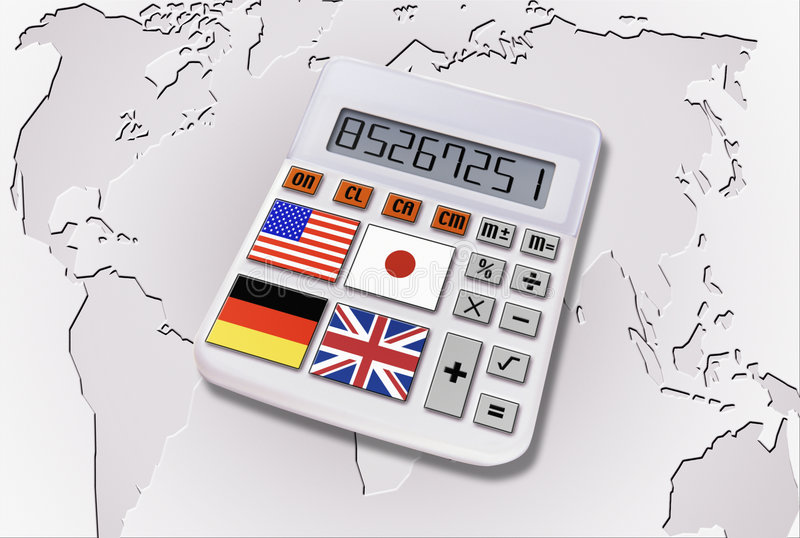 Calculadora con los indicadores del mundo imagen de archivo libre de regalías