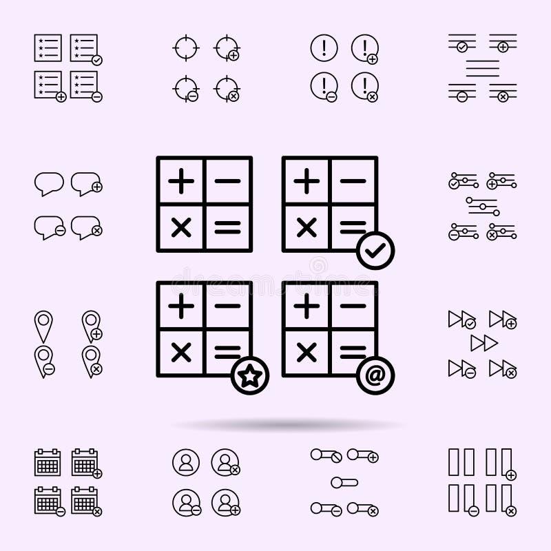 calculadora, control, correo, icono de la muestra de la estrella sistema universal de los iconos del web para el web y el m?vil ilustración del vector