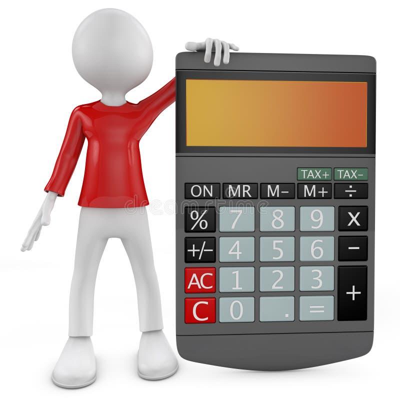 Calculadora. 3D poco carácter humano con una calculadora. stock de ilustración