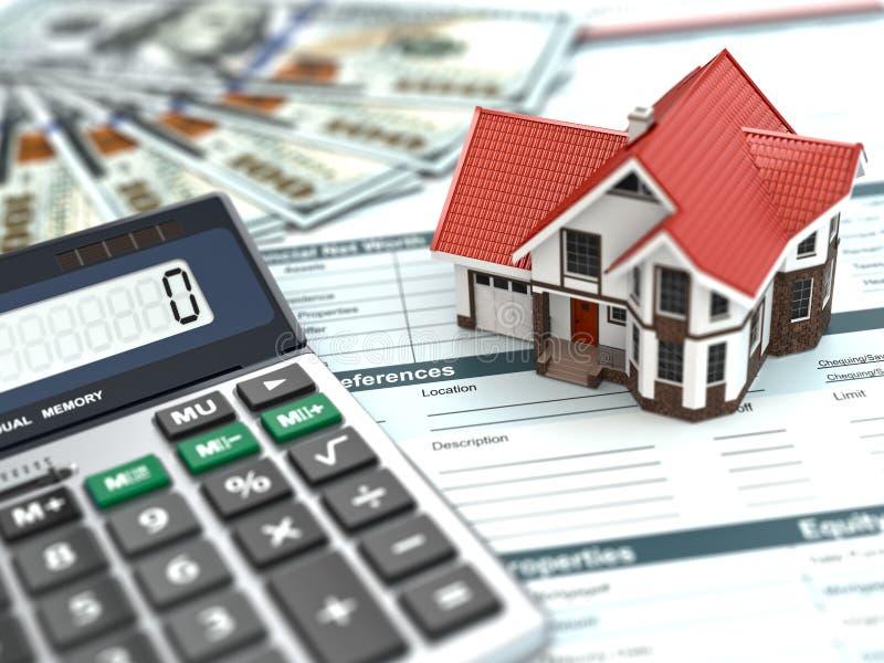 Calculadora da hipoteca. Casa, noney e original. imagem de stock