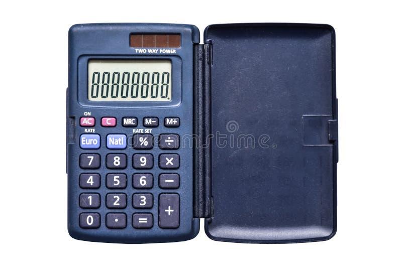 Calculadora de bolsillo simple usada del aislante en la opinión superior del fondo blanco imagen de archivo libre de regalías