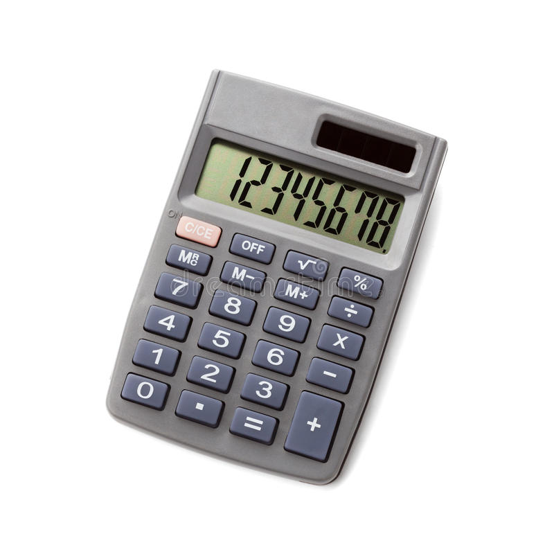 Calculadora de bolso no fundo branco fotografia de stock royalty free