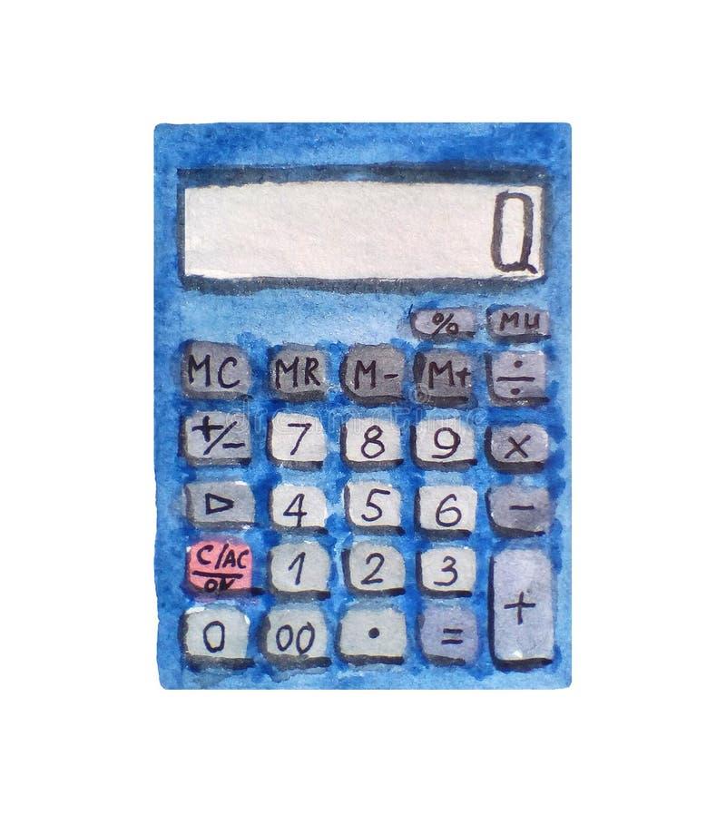 Calculadora, de nuevo a artículos de la escuela en el fondo blanco Fuentes de Schol Ejemplo dibujado mano de la acuarela stock de ilustración