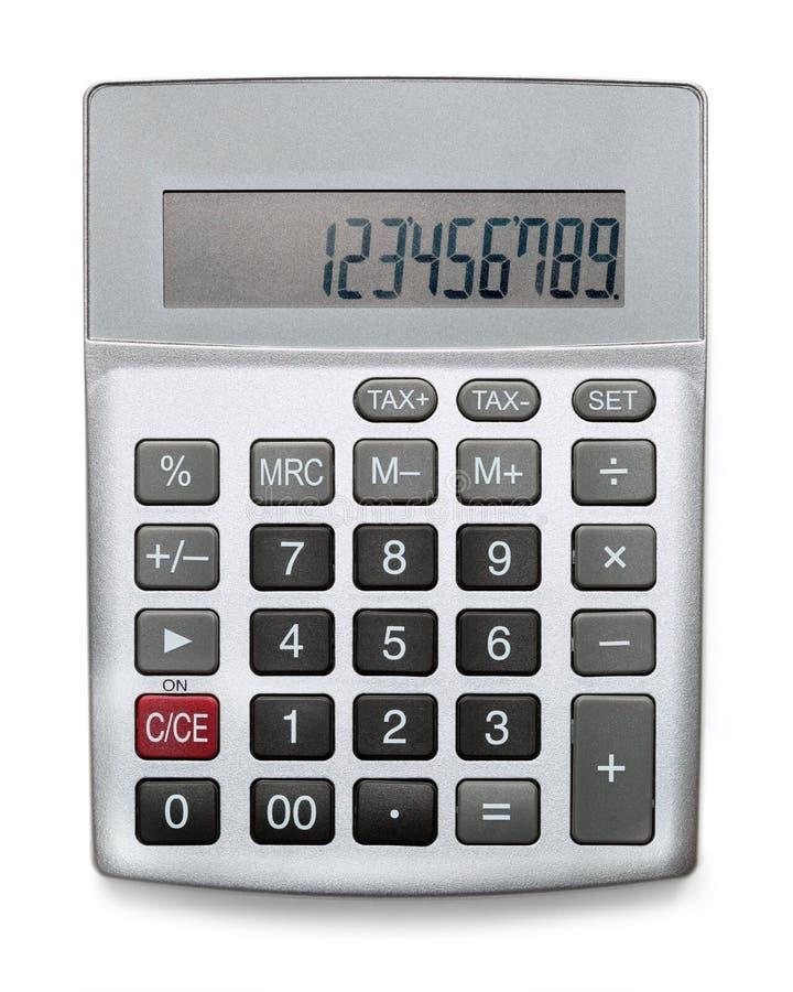 Calculadora de prata isolada no branco imagens de stock royalty free