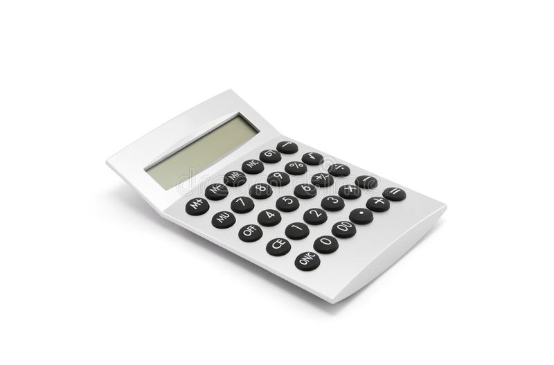 Calculadora de prata no branco foto de stock