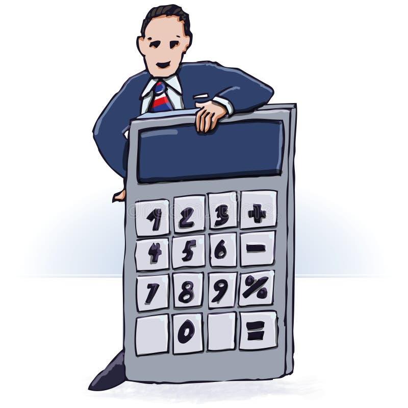 Calculadora del hombre de negocios y de bolsillo stock de ilustración