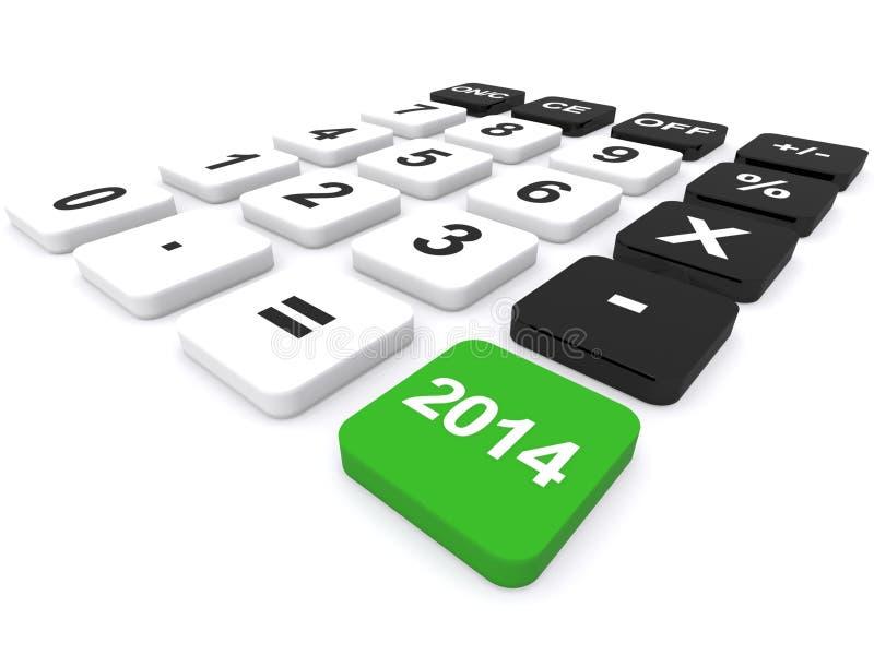 Calculadora 2014 do ano ilustração stock