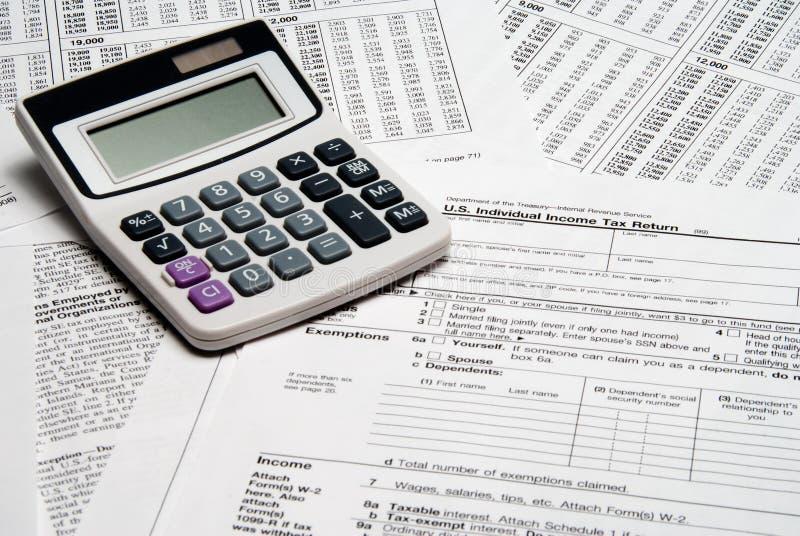 Calculadora do imposto fotografia de stock royalty free