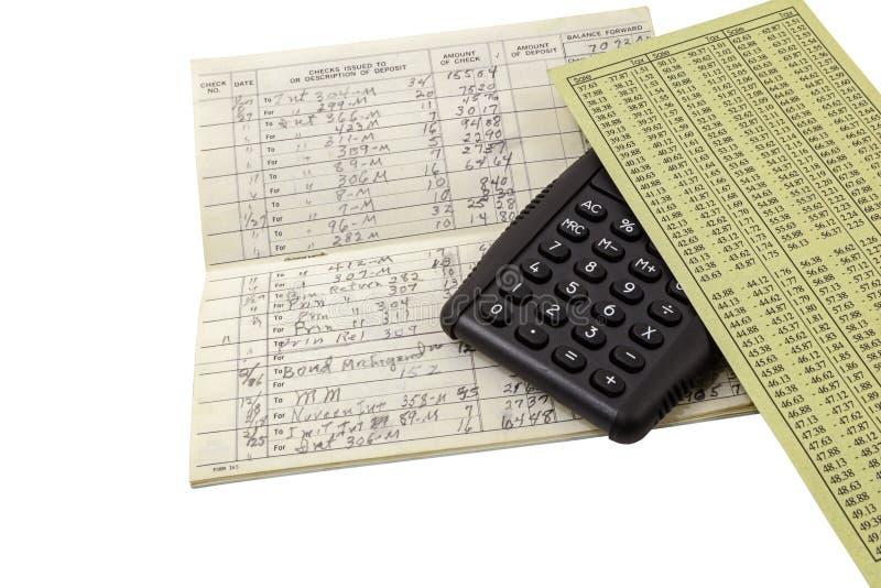 Calculadora do registro do conceito da gestão de dinheiro fotos de stock