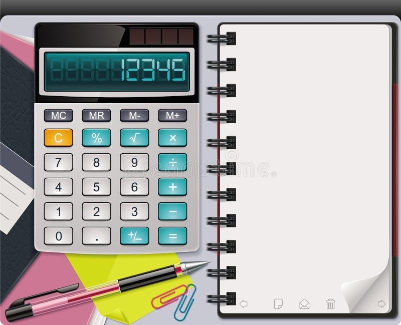 Calculadora do vetor com molde do bloco de notas ilustração royalty free