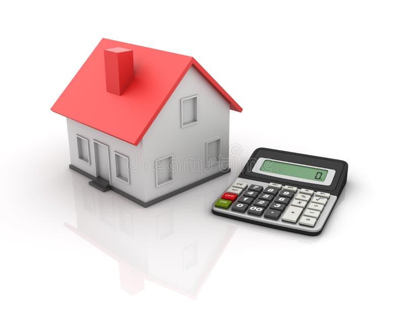 Calculadora e casa ilustração royalty free