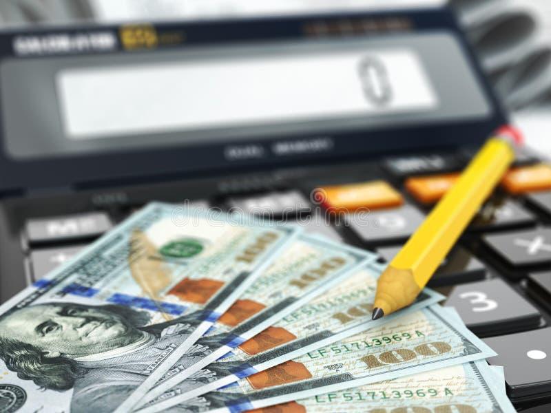 Calculadora e dólares Conceito financeiro ou da operação bancária ilustração royalty free