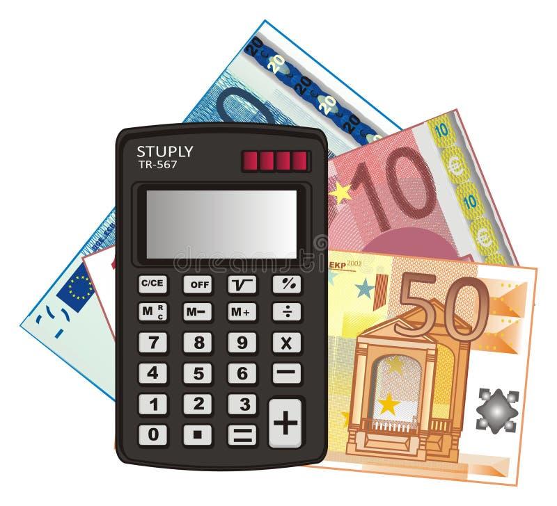 Calculadora e dinheiro ilustração do vetor