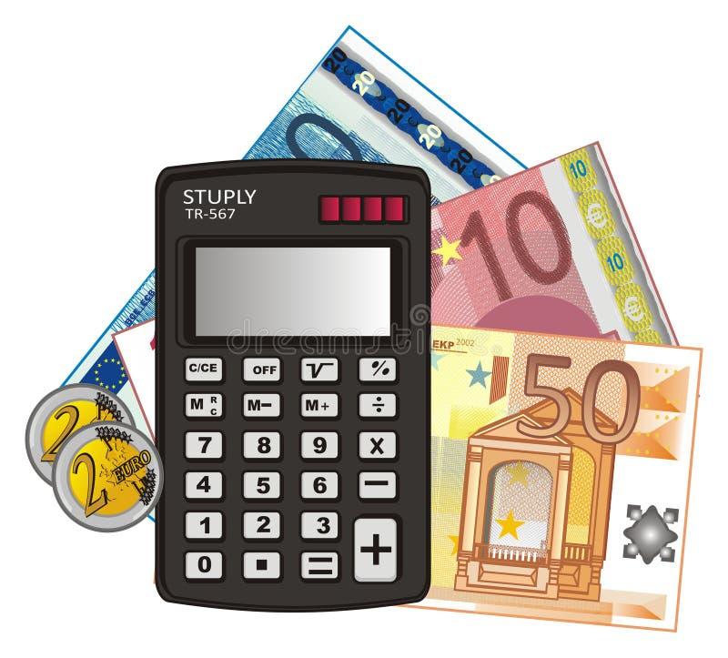 Calculadora e dinheiro diferente ilustração do vetor