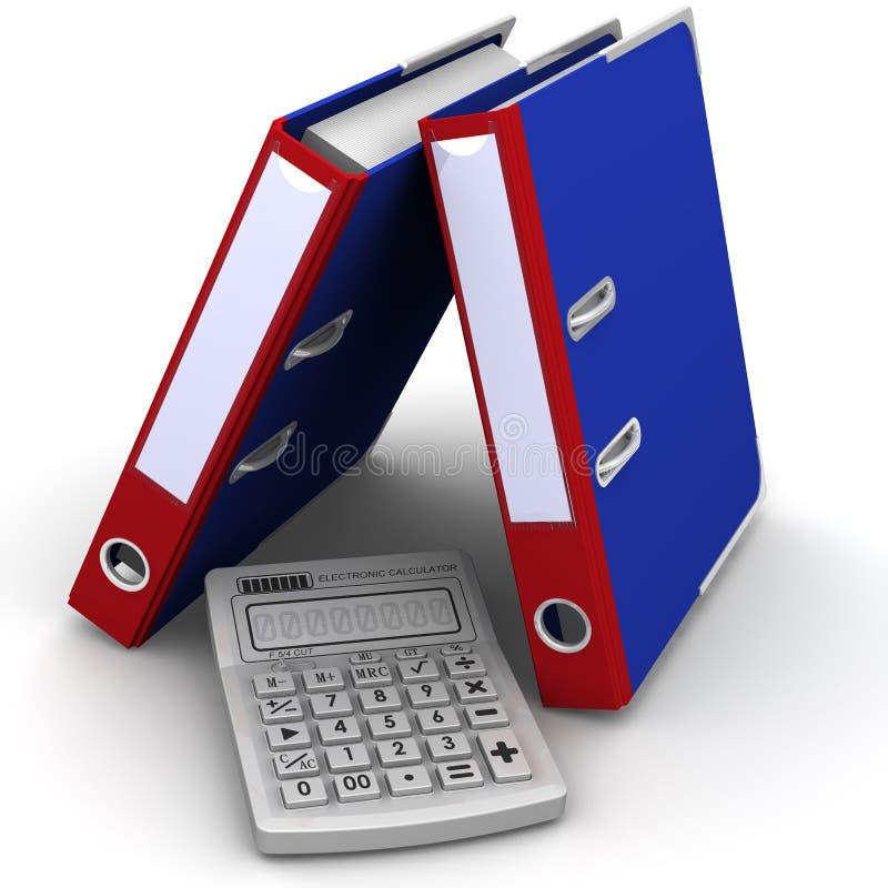Calculadora e dobradores em uma superfície branca ilustração royalty free