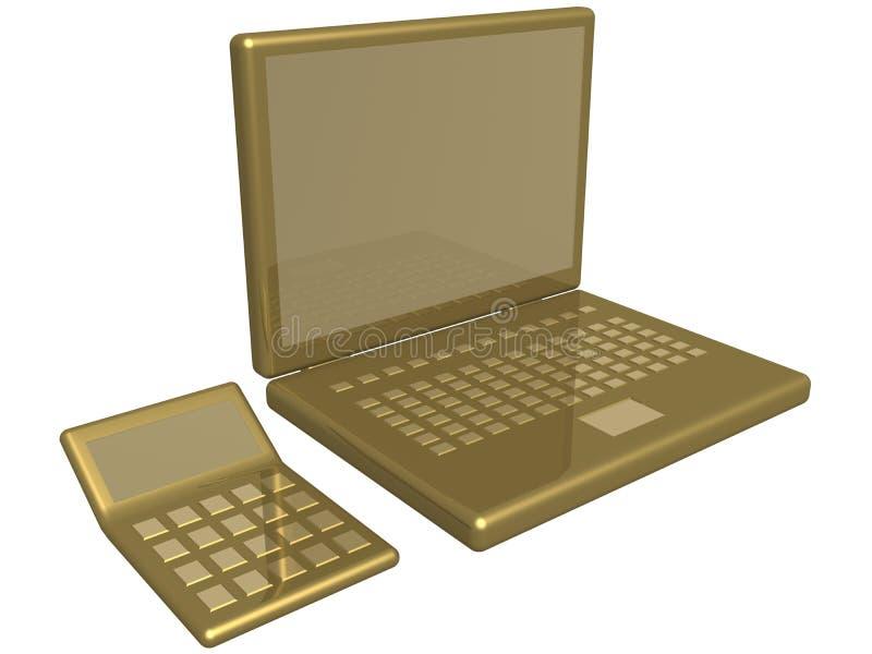 Calculadora e portátil do escritório ilustração do vetor