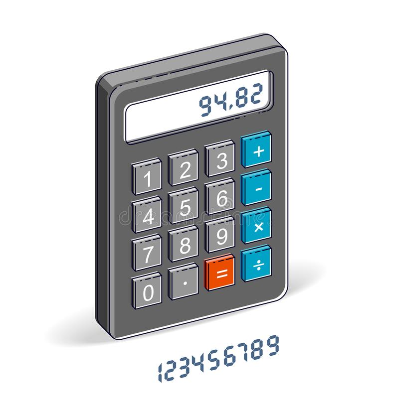 Calculadora isolada no fundo branco com grupo das letras, editável fácil para pôr sobre alguns números ilustração do vetor