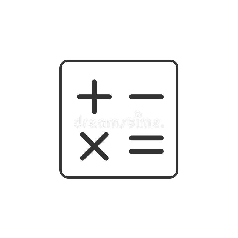 Calculadora, linha ícone da matemática Ilustração lisa simples, moderna do vetor para o app móvel, Web site ou desktop app ilustração stock