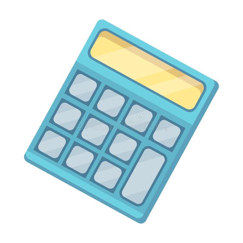 Calculadora Máquina para contar rápidamente datos matemáticas El solo icono de la escuela y de la educación en historieta diseña  stock de ilustración