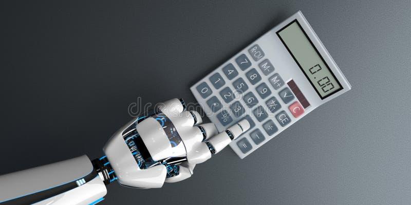 Calculadora mano robot ilustración del vector