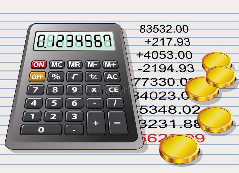 Calculadora, monedas de oro y una hoja del papel stock de ilustración