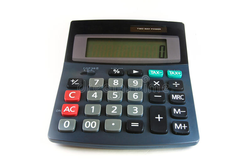 Calculadora negra aislada imagenes de archivo