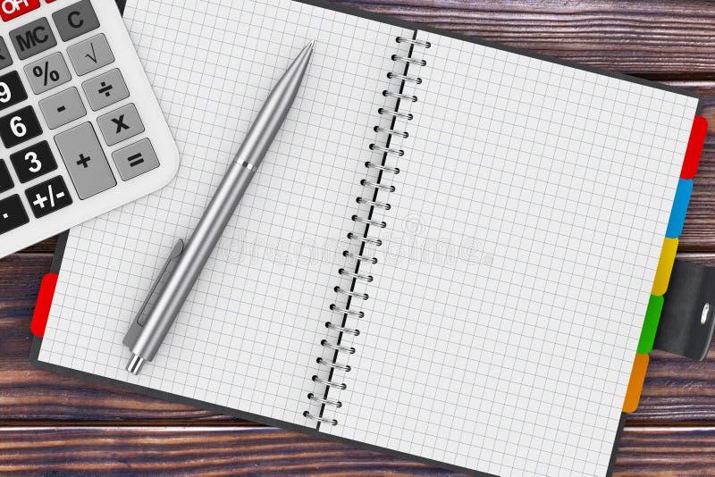 Calculadora, pena e organizador pessoal Book rendição 3d ilustração stock