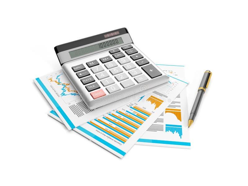 calculadora, pena e papéis ilustração royalty free
