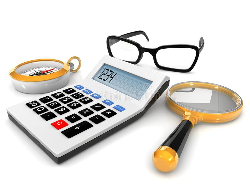 Calculadora, pluma y lentes ilustración del vector
