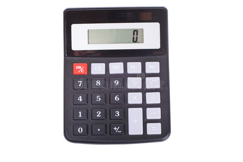 Calculadora portátil aislada con 0 exhibiciones imágenes de archivo libres de regalías