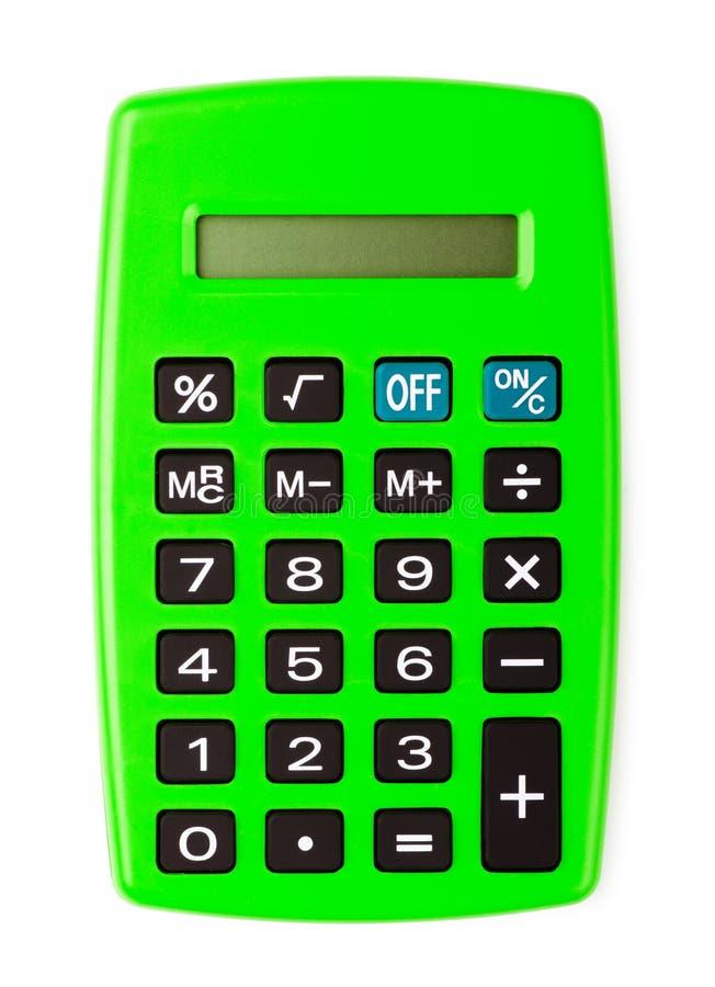 Calculadora verde de la oficina fotos de archivo