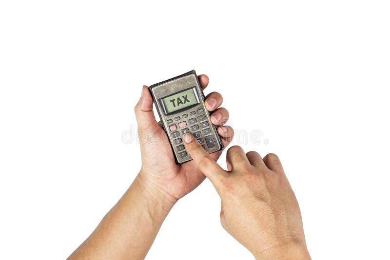 Calculadora vieja a disposición Conceptual del dinero y del negocio imágenes de archivo libres de regalías