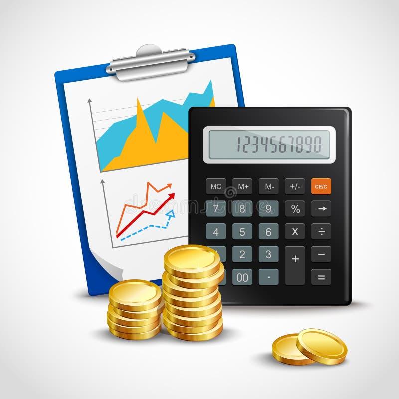 Calculadora y monedas de oro stock de ilustración