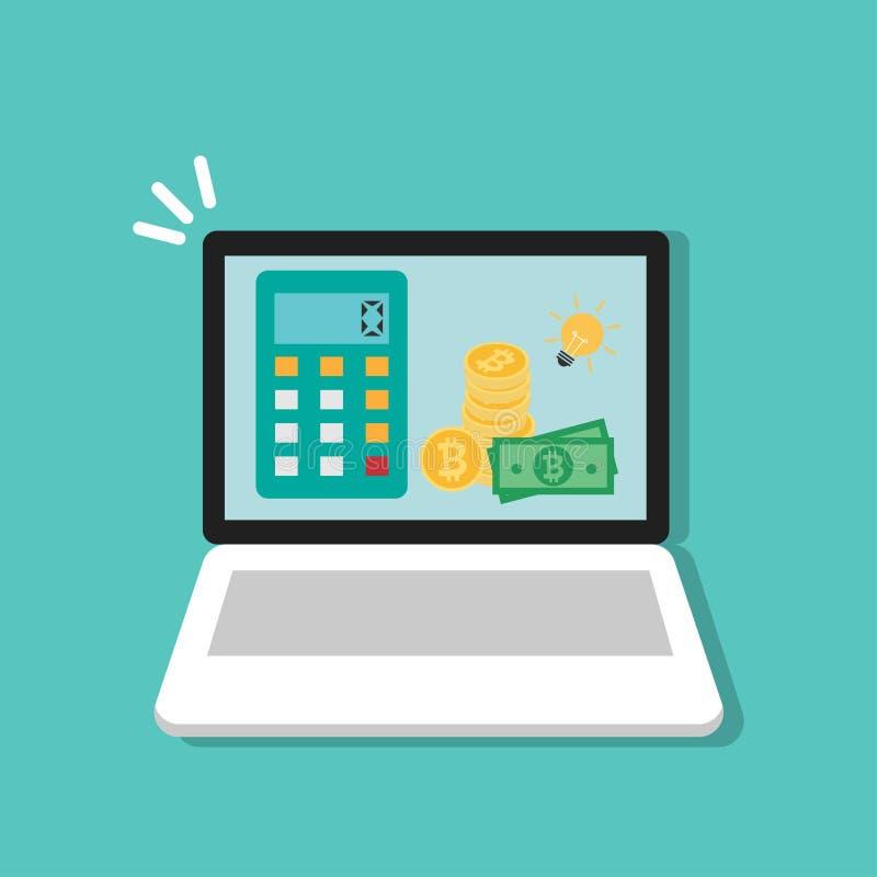 Calculadora y pila de bitcoin de oro con efectivo de la cuenta de dinero y de bombilla en el ordenador portátil, ordenador Histor ilustración del vector