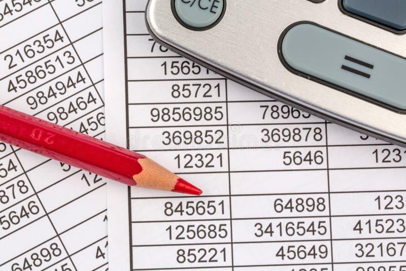 Calculadoras e statistk foto de stock