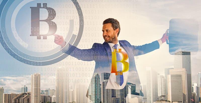 Calculate bitcoin mining profitability. Businessman interact digital surface crypto currency bitcoin. Digital business stock photography