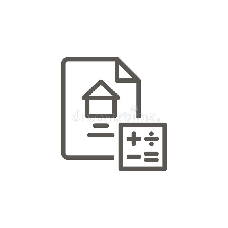 Calculate, contract, house, home  icon. Simple element illustration from UI concept. Calculate, contract, house, home. Icon. Real estate concept  illustration vector illustration