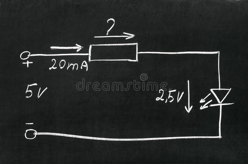 Download Calculate the resistor stock image. Image of schematic - 43448439