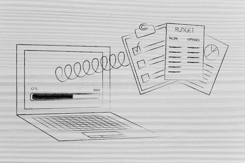Laptop with progress bar and budget documents popping out of th. Calculate your budget conceptual illustration: laptop with progress bar and documents popping royalty free stock photo