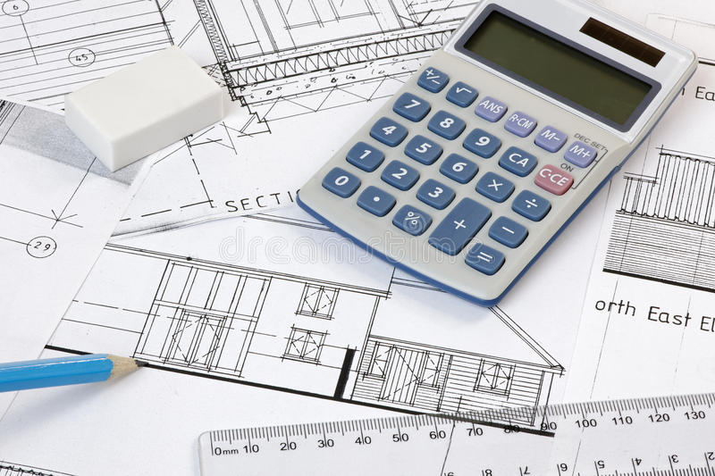 Download Calculater,pencil And Ruler On Plans Royalty Free Stock Photo - Image: 33550025