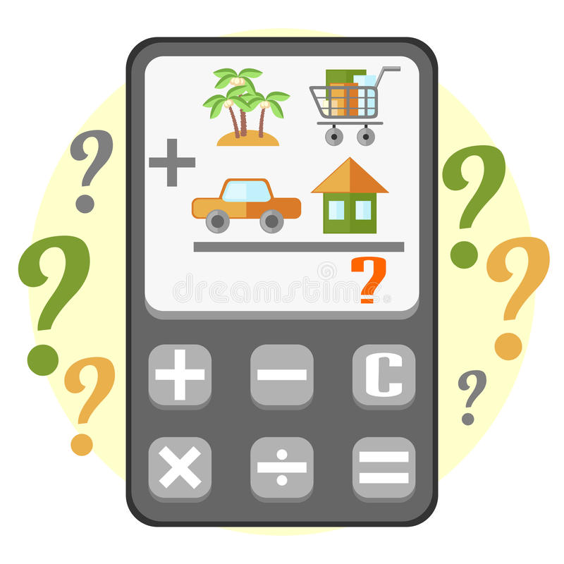 Calculating of household budget. Flat calculator displaying calculating of main household items vector illustration